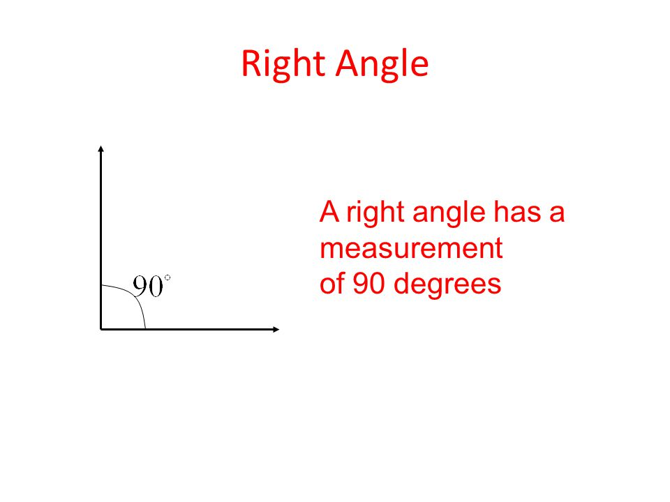 Right Angle A right angle has a measurement of 90 degrees