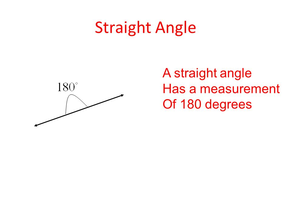 Straight Angle A straight angle Has a measurement Of 180 degrees