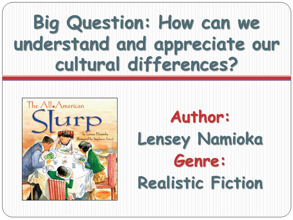 Big Question: How can we understand and appreciate our cultural differences.
