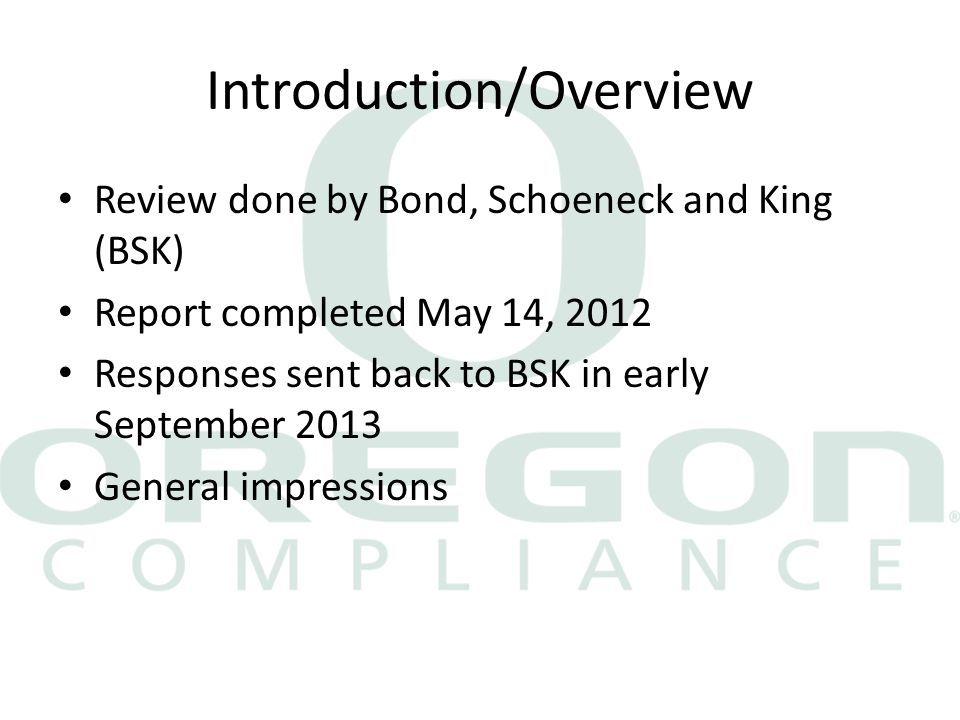 Introduction/Overview Review done by Bond, Schoeneck and King (BSK) Report completed May 14, 2012 Responses sent back to BSK in early September 2013 General impressions