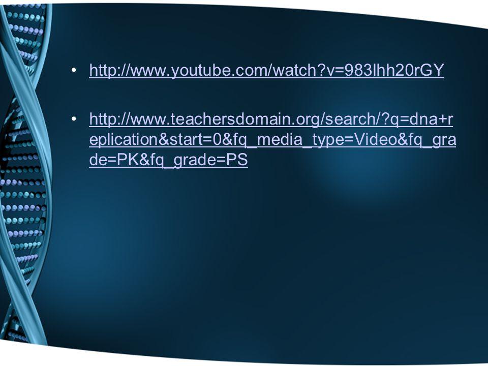 http://www.youtube.com/watch v=983lhh20rGY http://www.teachersdomain.org/search/ q=dna+r eplication&start=0&fq_media_type=Video&fq_gra de=PK&fq_grade=PShttp://www.teachersdomain.org/search/ q=dna+r eplication&start=0&fq_media_type=Video&fq_gra de=PK&fq_grade=PS