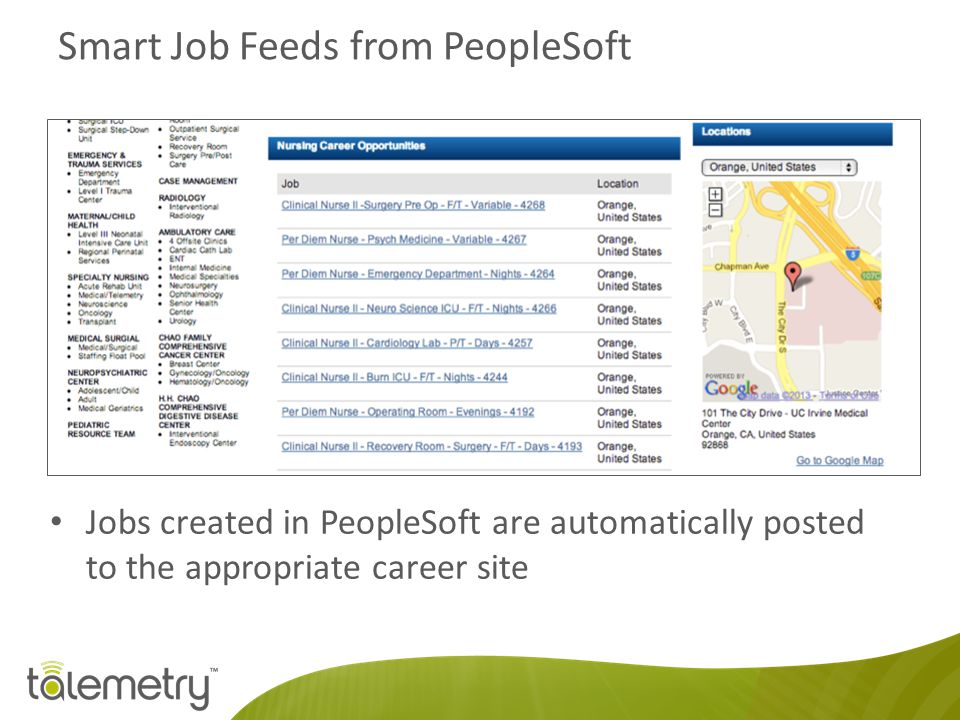 Smart Job Feeds from PeopleSoft Jobs created in PeopleSoft are automatically posted to the appropriate career site