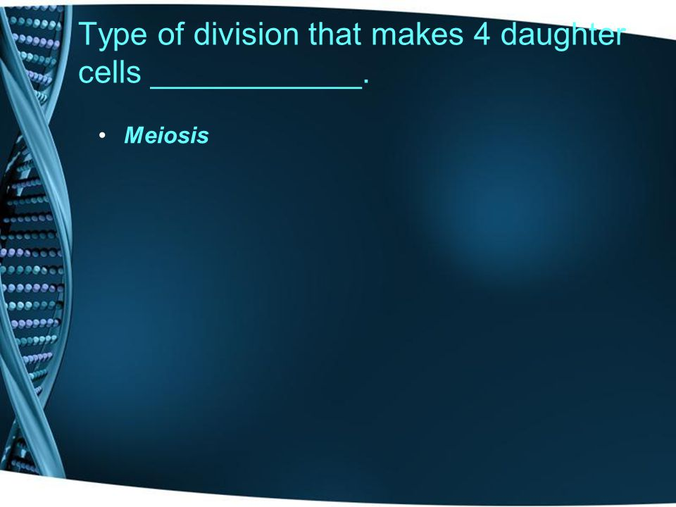 Type of division that makes 2 daughter cells __________. Mitosis
