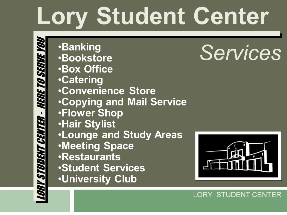 Banking Bookstore Box Office Catering Convenience Store Copying and Mail Service Flower Shop Hair Stylist Lounge and Study Areas Meeting Space Restaur