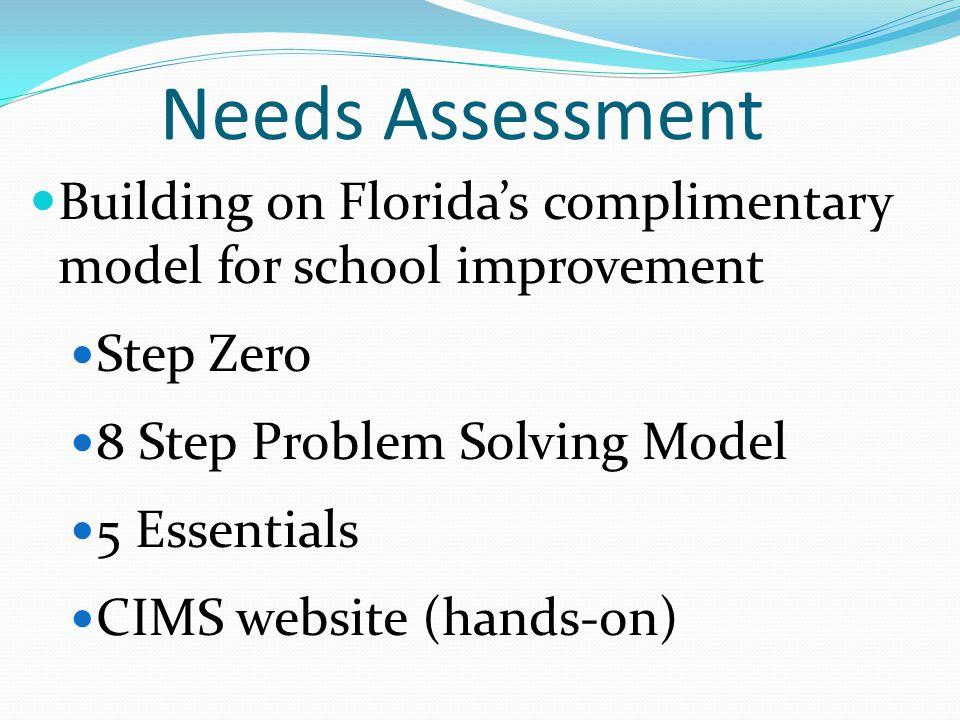Needs Assessment Building on Florida's complimentary model for school improvement Step Zero 8 Step Problem Solving Model 5 Essentials CIMS website (ha