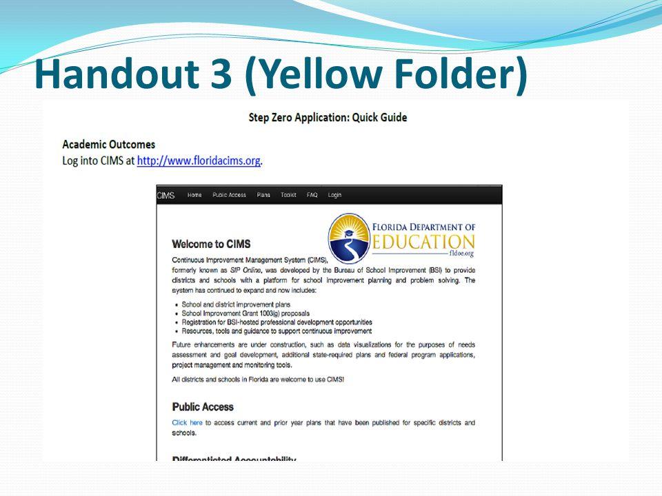 Handout 3 (Yellow Folder)