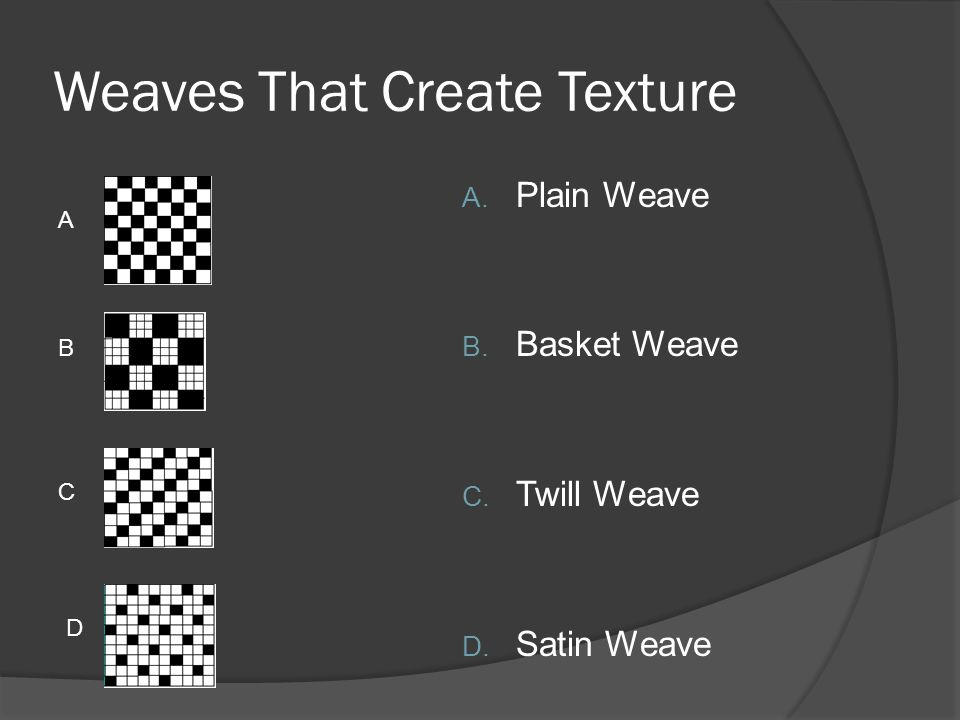 Weaves That Create Texture A. Plain Weave B. Basket Weave C. Twill Weave D. Satin Weave A B C D
