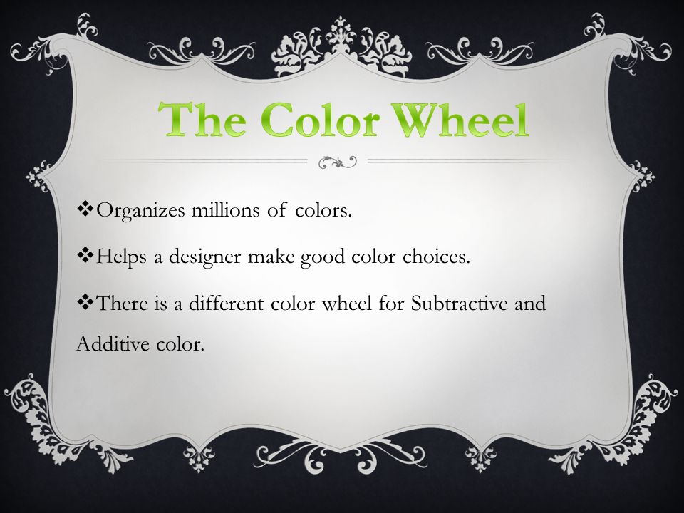  Organizes millions of colors.  Helps a designer make good color choices.
