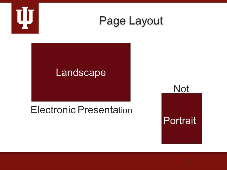 Page Layout 11 Landscape Electronic Presenta tion Portrait Not