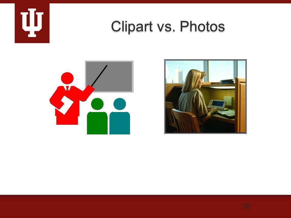 20 Clipart vs. Photos