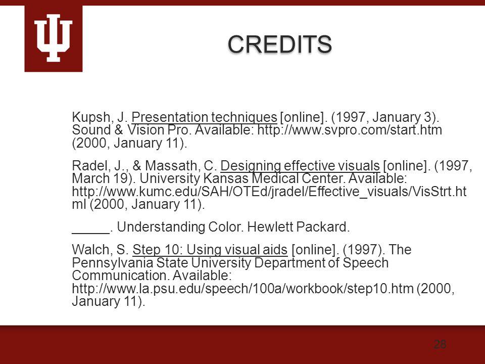 28 CREDITS Kupsh, J. Presentation techniques [online].