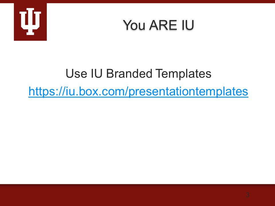 You ARE IU Use IU Branded Templates https://iu.box.com/presentationtemplates 3