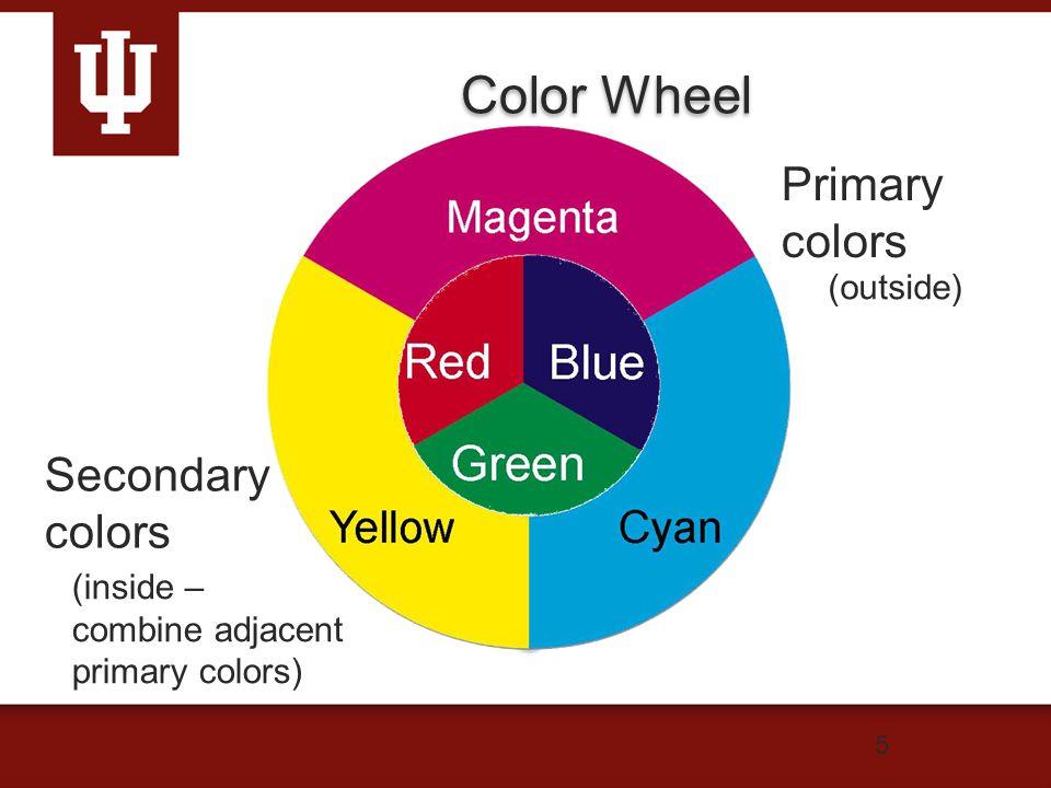 Color Wheel 5 Secondary colors (inside – combine adjacent primary colors) Primary colors (outside)