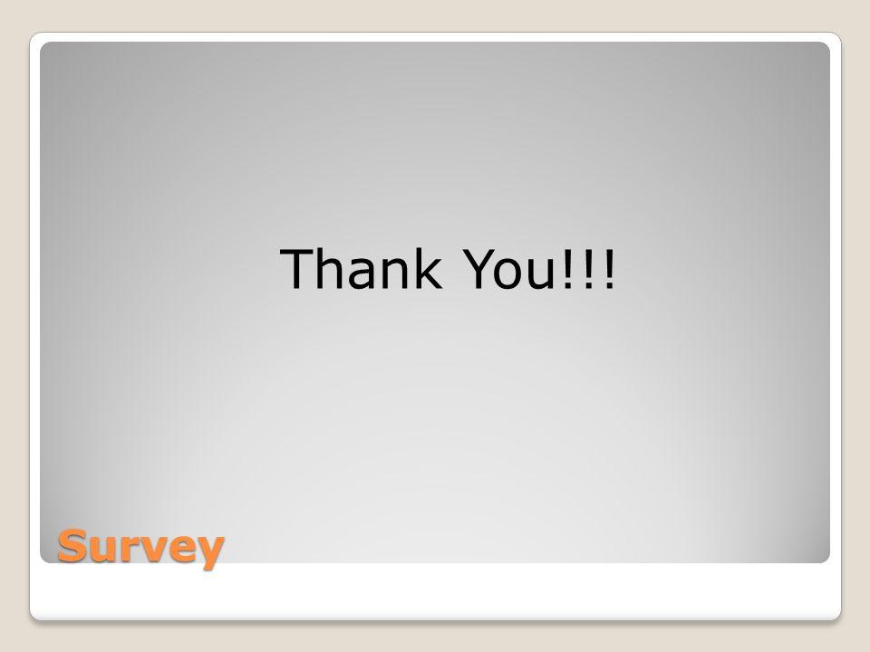 Survey Thank You!!!