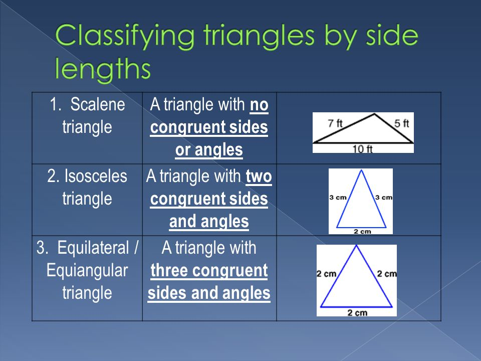 1. Scalene triangle A triangle with no congruent sides or angles 2.