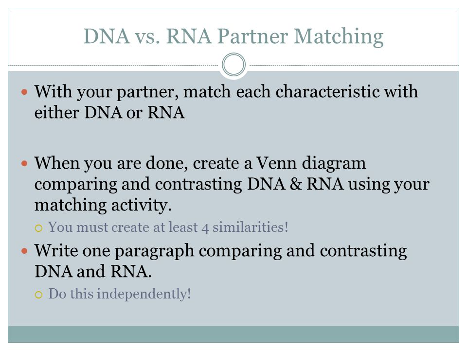 DNA vs. RNA Partner Matching With your partner, match each characteristic with either DNA or RNA When you are done, create a Venn diagram comparing an