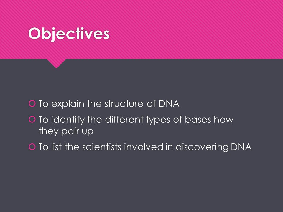Objectives  To explain the structure of DNA  To identify the different types of bases how they pair up  To list the scientists involved in discover