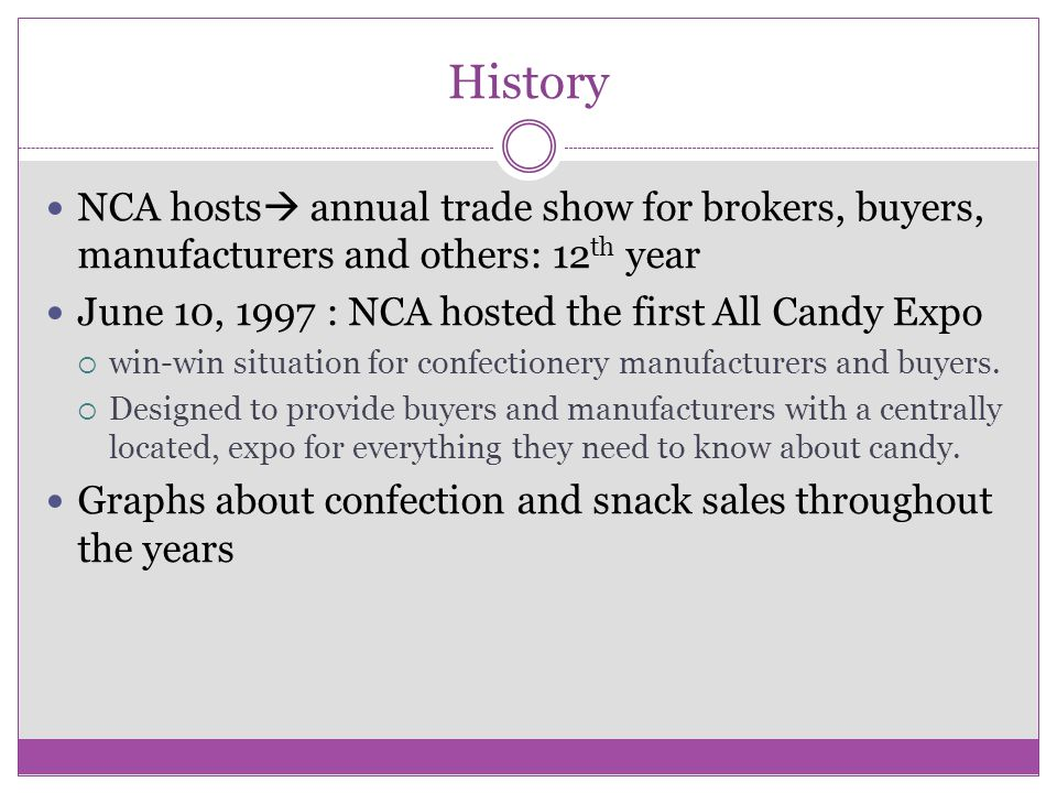 History NCA hosts  annual trade show for brokers, buyers, manufacturers and others: 12 th year June 10, 1997 : NCA hosted the first All Candy Expo  win-win situation for confectionery manufacturers and buyers.