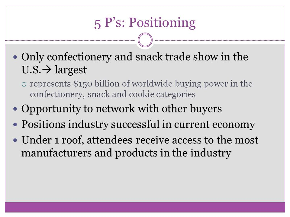 5 P's: Positioning Only confectionery and snack trade show in the U.S.