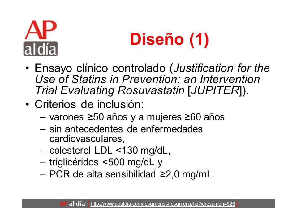 AP al día [ http://www.apaldia.com/resumenes/resumen.php?idresumen=626 ] Diseño (1) Ensayo clínico controlado (Justification for the Use of Statins in Prevention: an Intervention Trial Evaluating Rosuvastatin [JUPITER]).