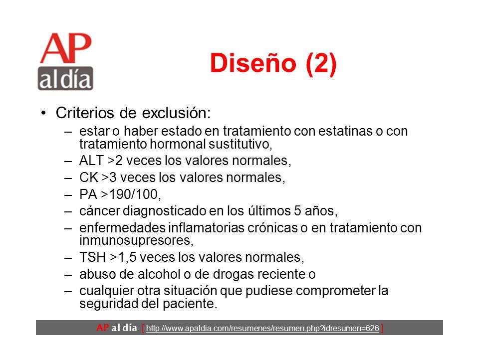 AP al día [ http://www.apaldia.com/resumenes/resumen.php idresumen=626 ] Diseño (1) Ensayo clínico controlado (Justification for the Use of Statins in Prevention: an Intervention Trial Evaluating Rosuvastatin [JUPITER]).