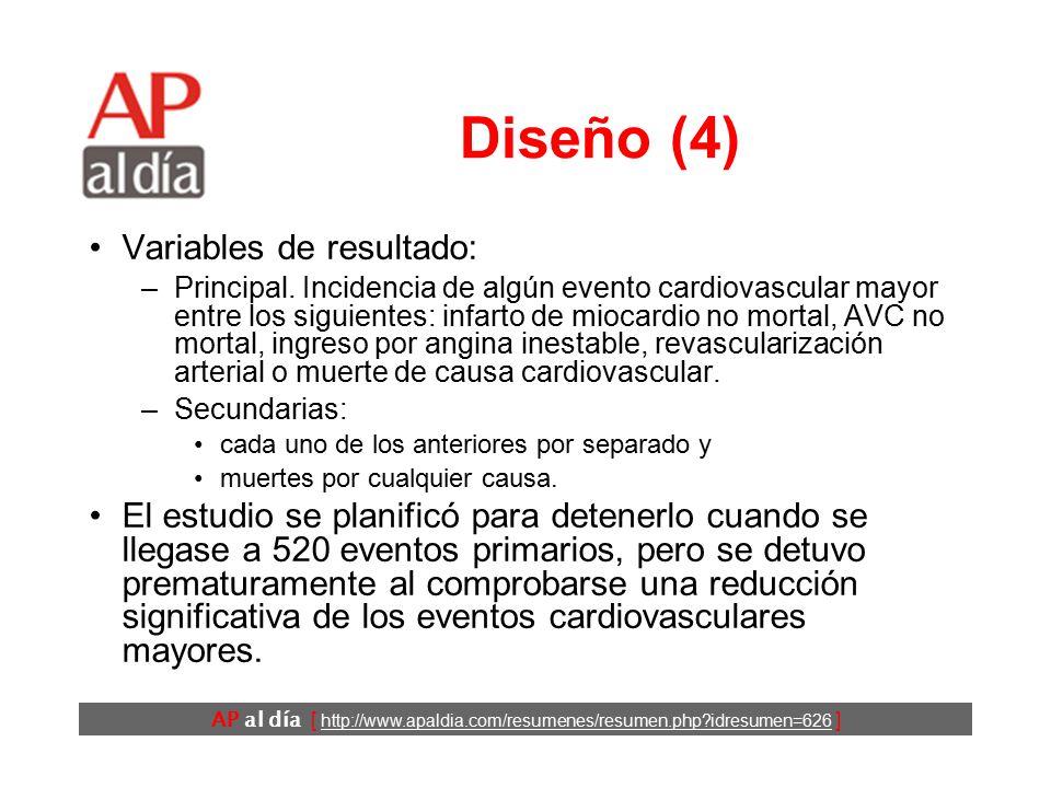 AP al día [ http://www.apaldia.com/resumenes/resumen.php?idresumen=626 ] Diseño (3) Los participantes fueron distribuidos aleatoriamente y de forma doble ciego a recibir: –20 mg/d de rosuvastatina o –un placebo.