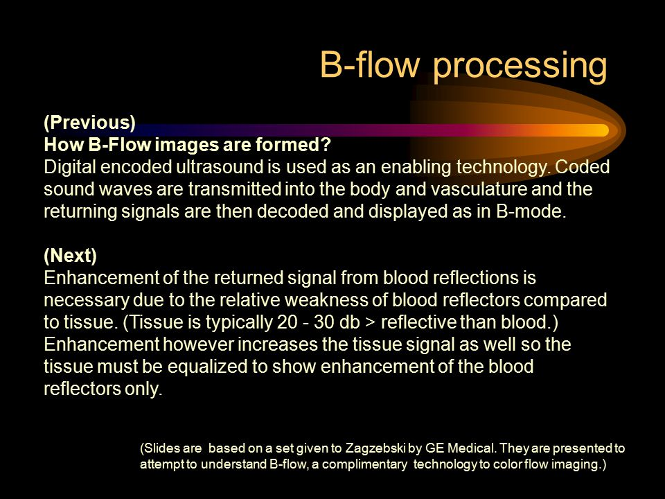 B-flow processing (Previous) How B-Flow images are formed? Digital encoded ultrasound is used as an enabling technology. Coded sound waves are transmi