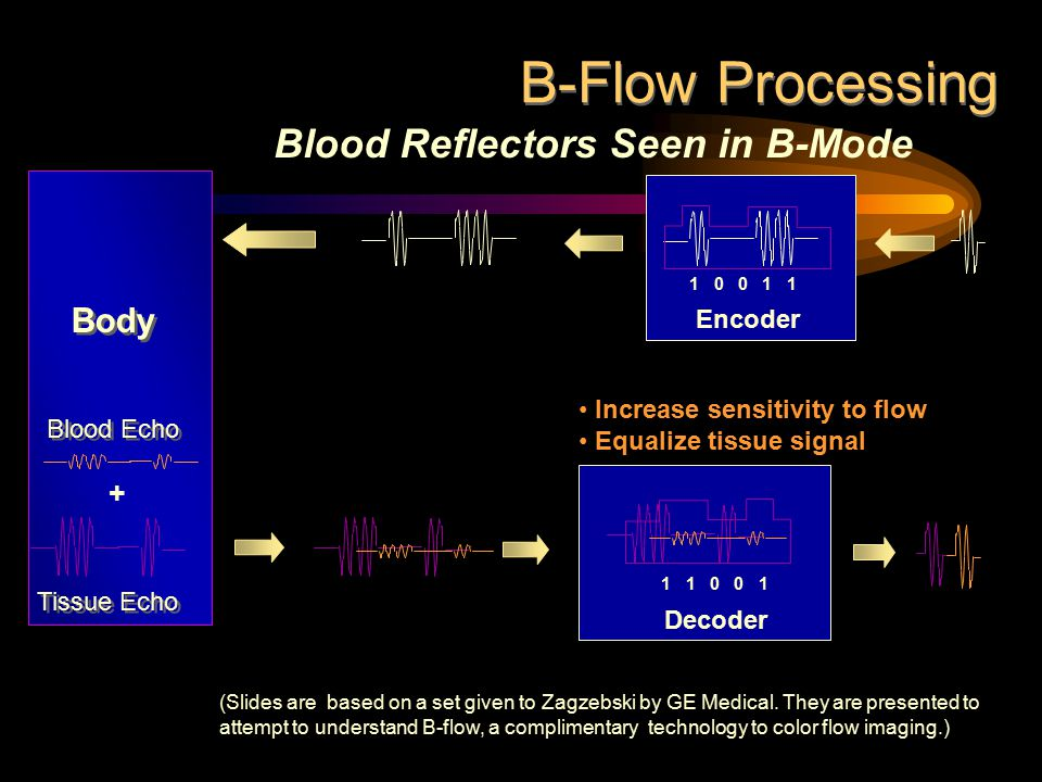 Decoder 1 0 0 1 1 Tissue Echo + Blood Echo Increase sensitivity to flow Equalize tissue signal Blood Reflectors Seen in B-Mode Encoder Body 1 1 0 0 1