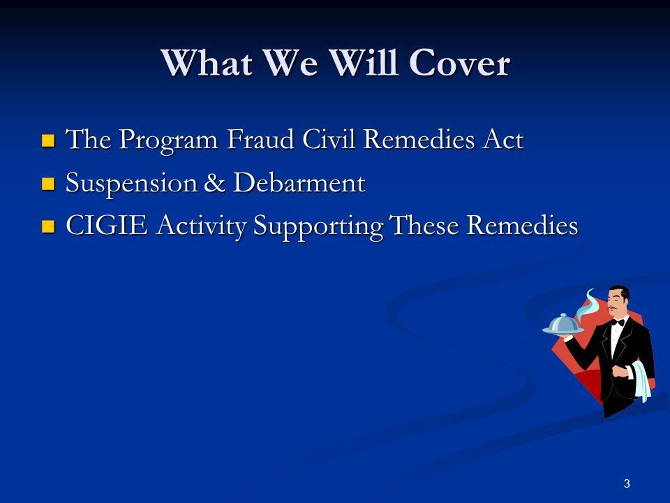 The Program Fraud Civil Remedies Act of 1986 PFCRA 31 U.S.C.