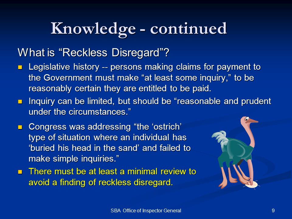Knowledge - continued What is Reckless Disregard .