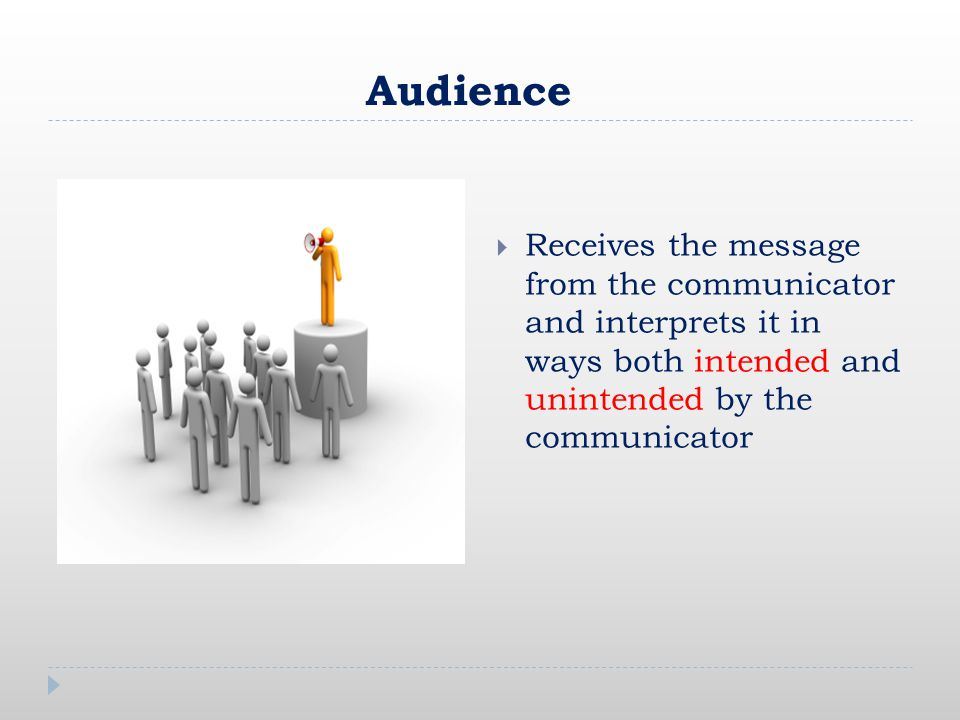 Audience  Receives the message from the communicator and interprets it in ways both intended and unintended by the communicator