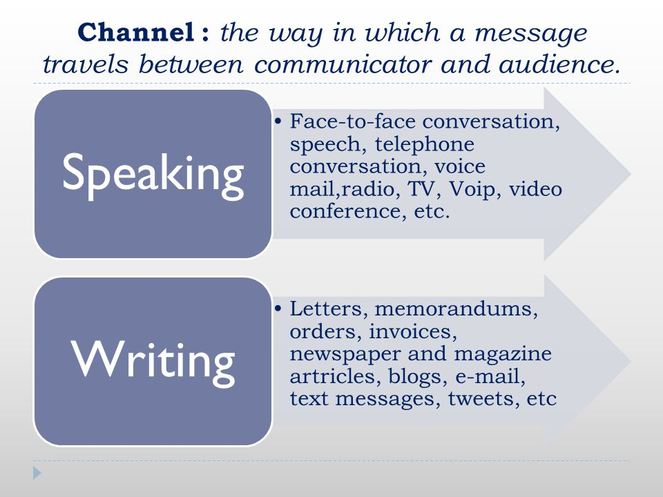 Channel : the way in which a message travels between communicator and audience.
