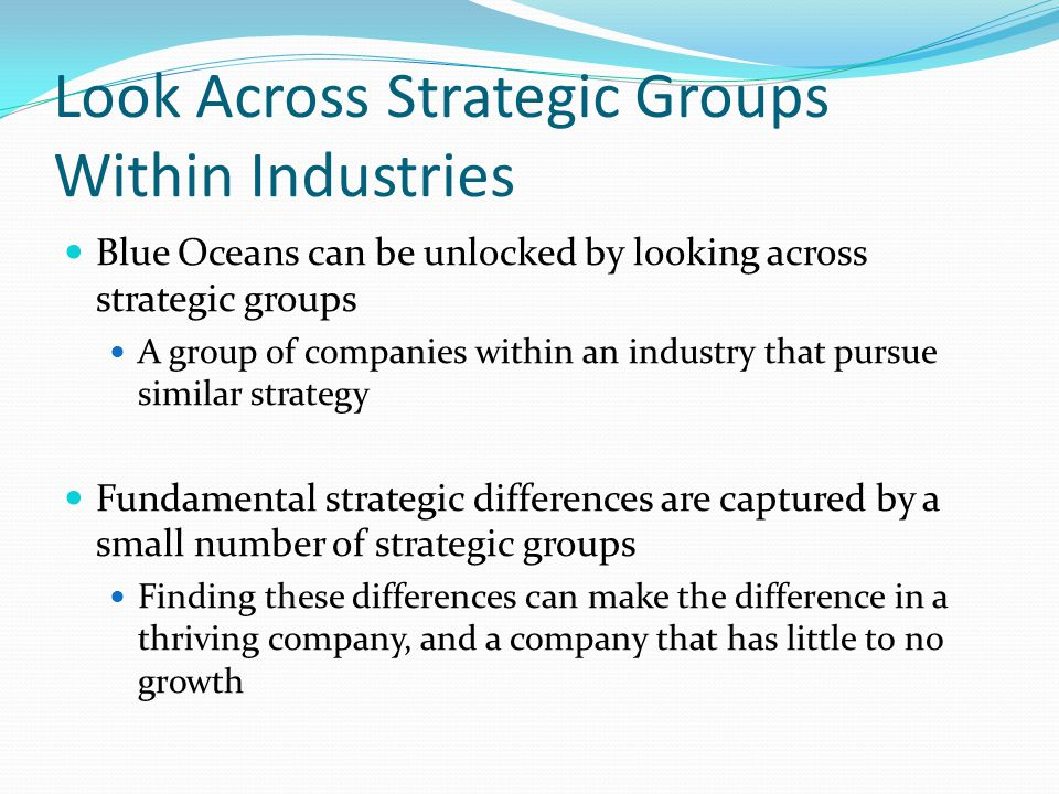 Look Across Strategic Groups Within Industries Blue Oceans can be unlocked by looking across strategic groups A group of companies within an industry
