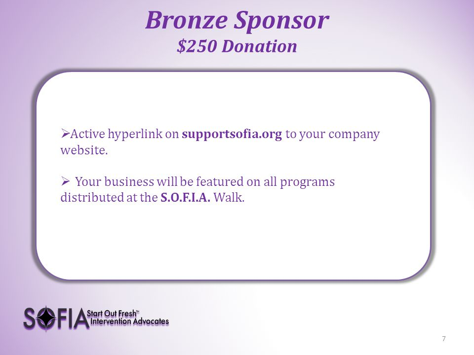 Silver Sponsor $500 Donation 8  Active hyperlink on supportsofia.org to your company website.