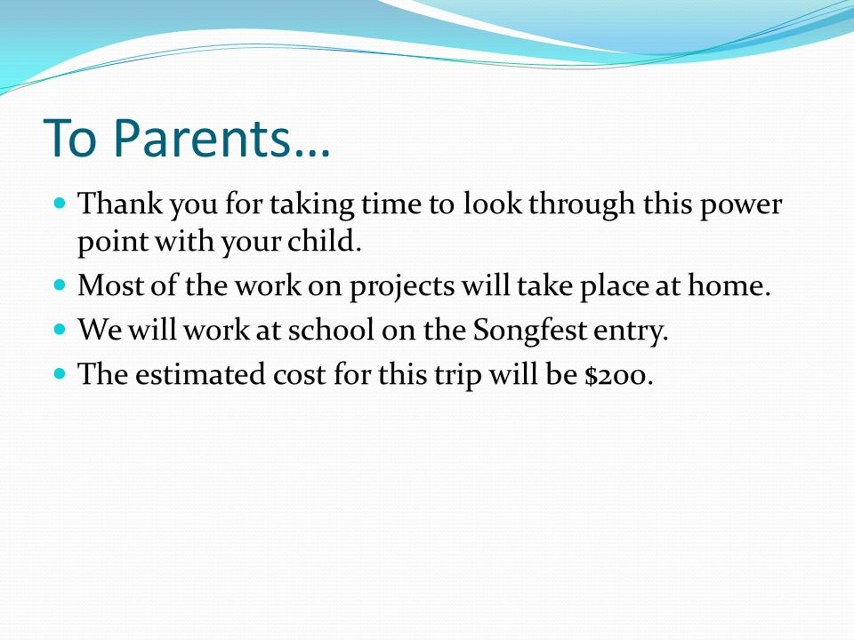 To Parents… Thank you for taking time to look through this power point with your child.