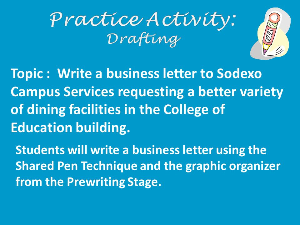 Students will write a business letter using the Shared Pen Technique and the graphic organizer from the Prewriting Stage.