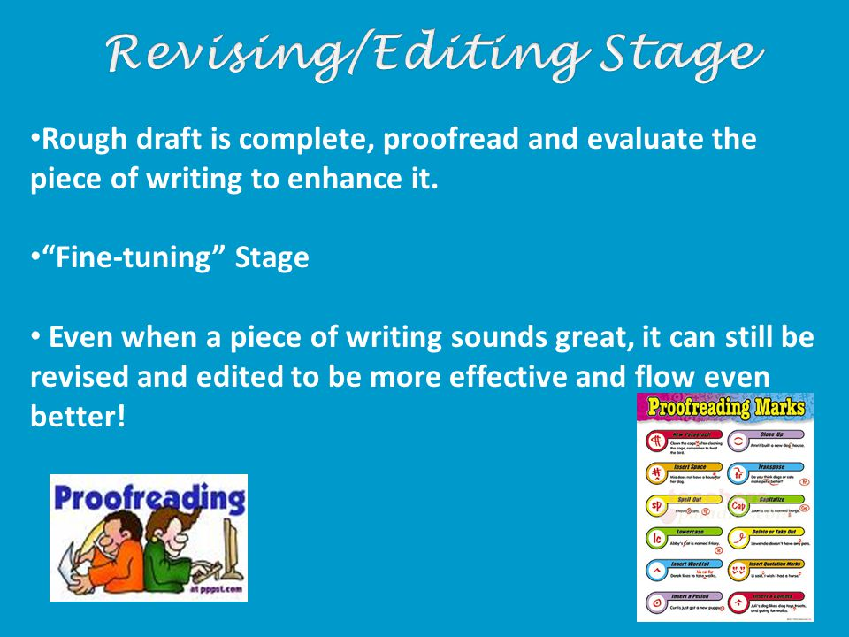Rough draft is complete, proofread and evaluate the piece of writing to enhance it.
