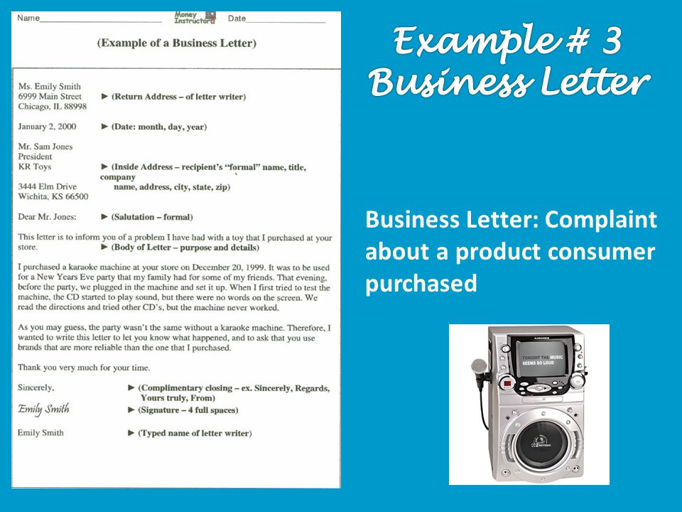 Business Letter: Complaint about a product consumer purchased