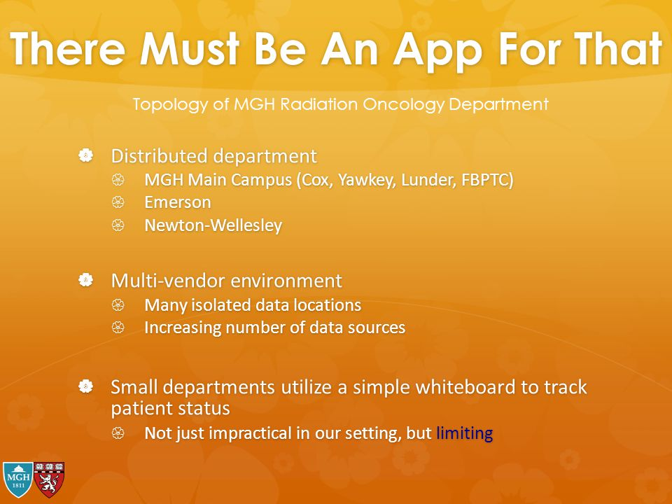 There Must Be An App For That  Distributed department  MGH Main Campus (Cox, Yawkey, Lunder, FBPTC)  Emerson  Newton-Wellesley  Multi-vendor envi