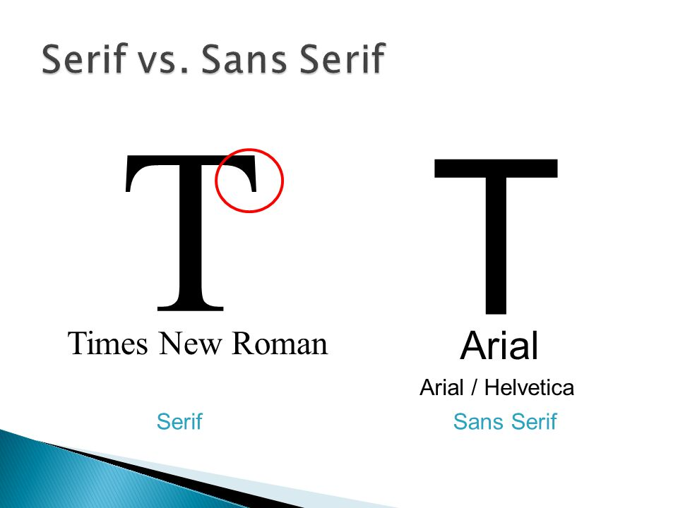Times New Roman Arial T T Arial / Helvetica Sans SerifSerif