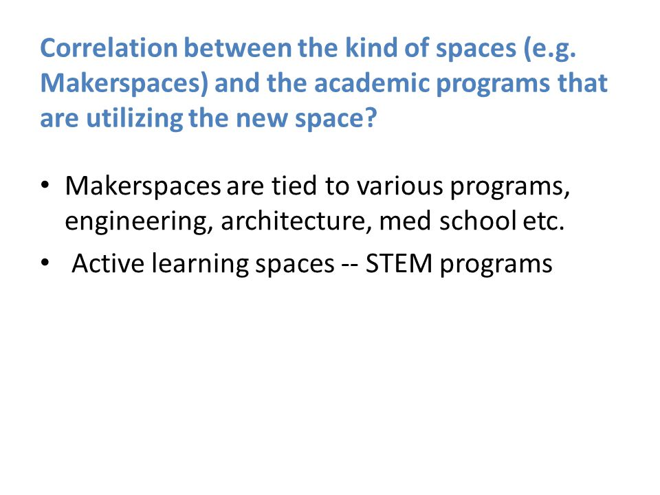 Correlation between the kind of spaces (e.g.
