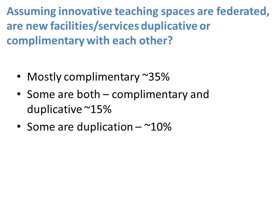 Assuming innovative teaching spaces are federated, are new facilities/services duplicative or complimentary with each other.