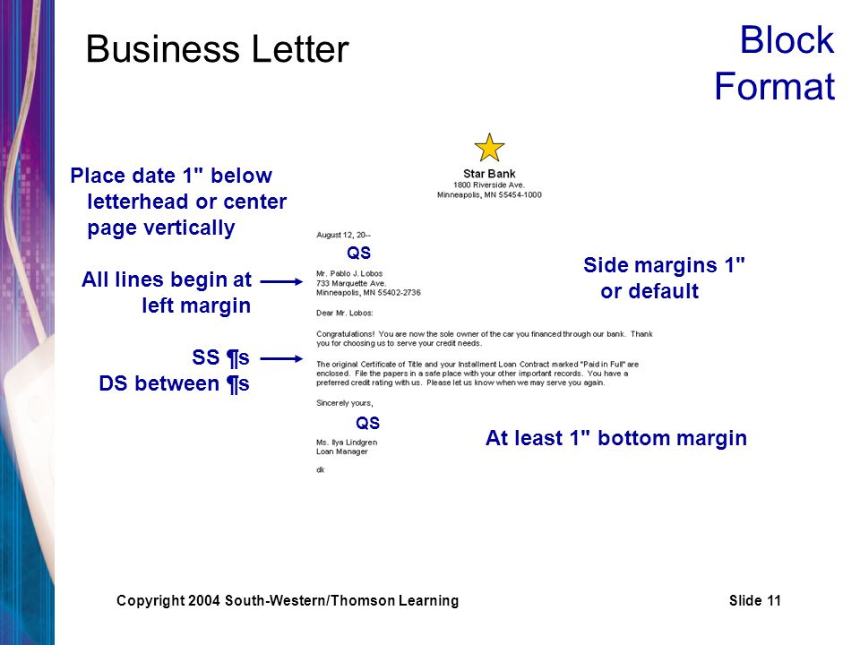 Copyright 2004 South-Western/Thomson LearningSlide 11 Business Letter Place date 1