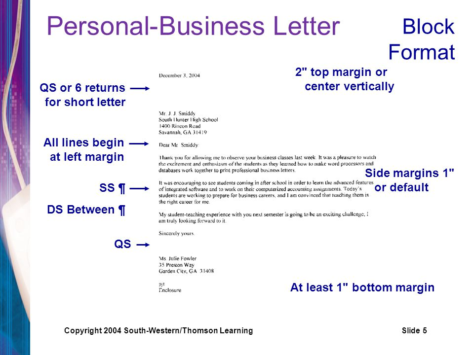 Copyright 2004 South-Western/Thomson LearningSlide 6 Personal-Business Letter Colon after salutation Comma after complimentary close December 3, 2004 Mr.