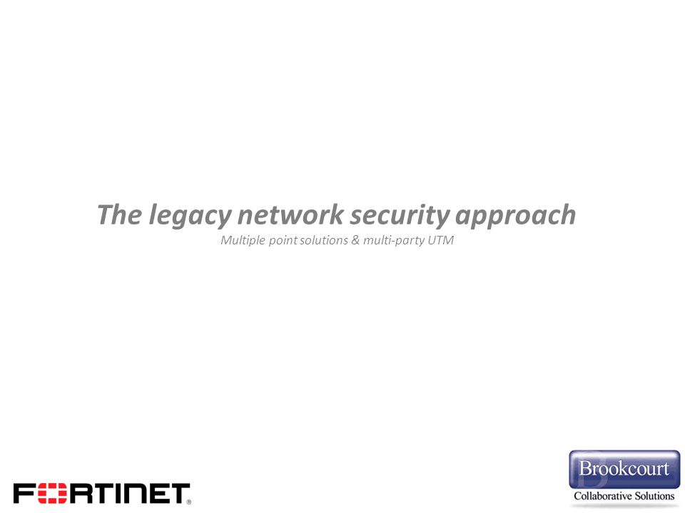 The legacy network security approach Multiple point solutions & multi-party UTM