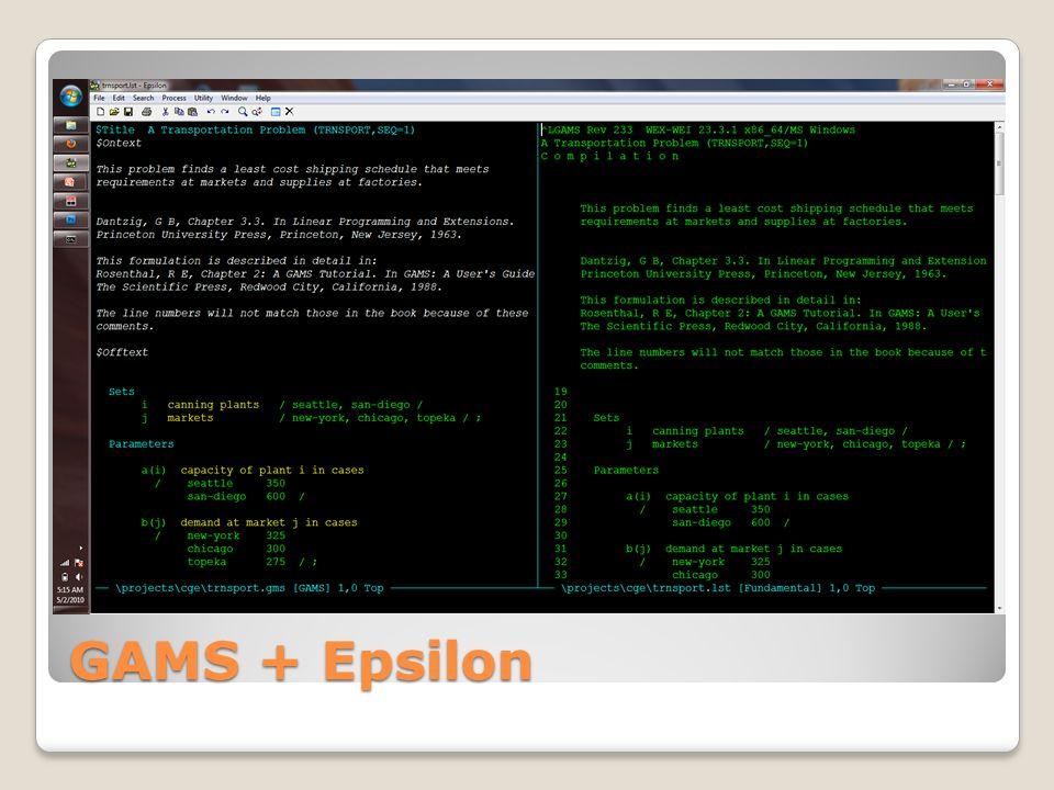 GAMS + Epsilon