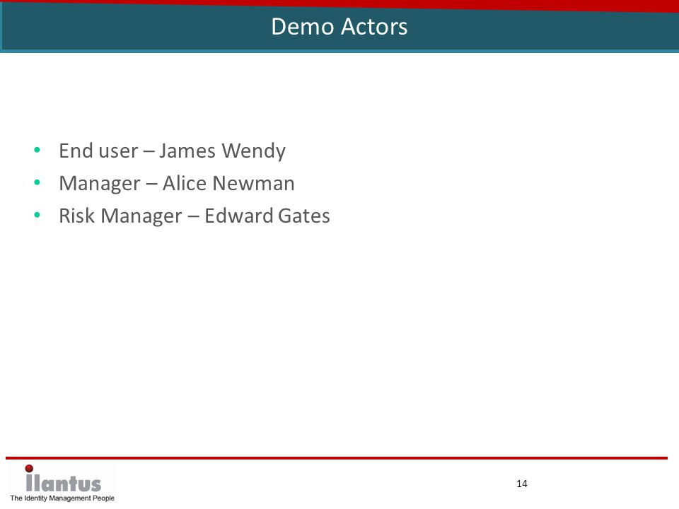 14 Demo Actors End user – James Wendy Manager – Alice Newman Risk Manager – Edward Gates