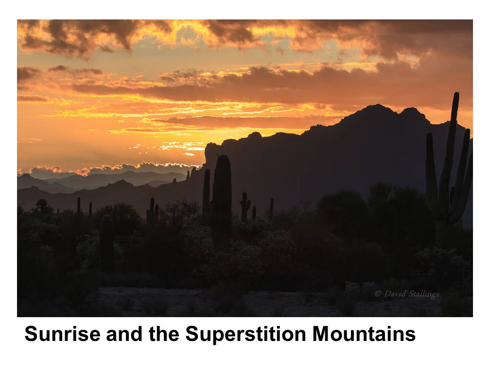 Sunrise and the Superstition Mountains