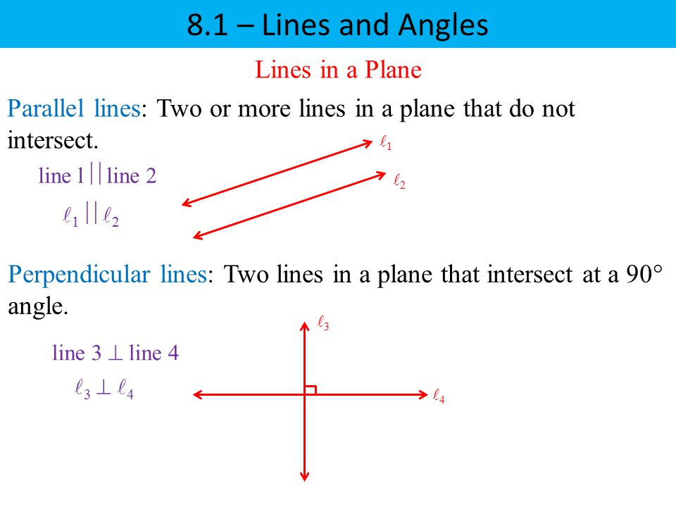 8.1 – Lines and Angles Lines in a Plane Parallel lines: Two or more lines in a plane that do not intersect. Perpendicular lines: Two lines in a plane