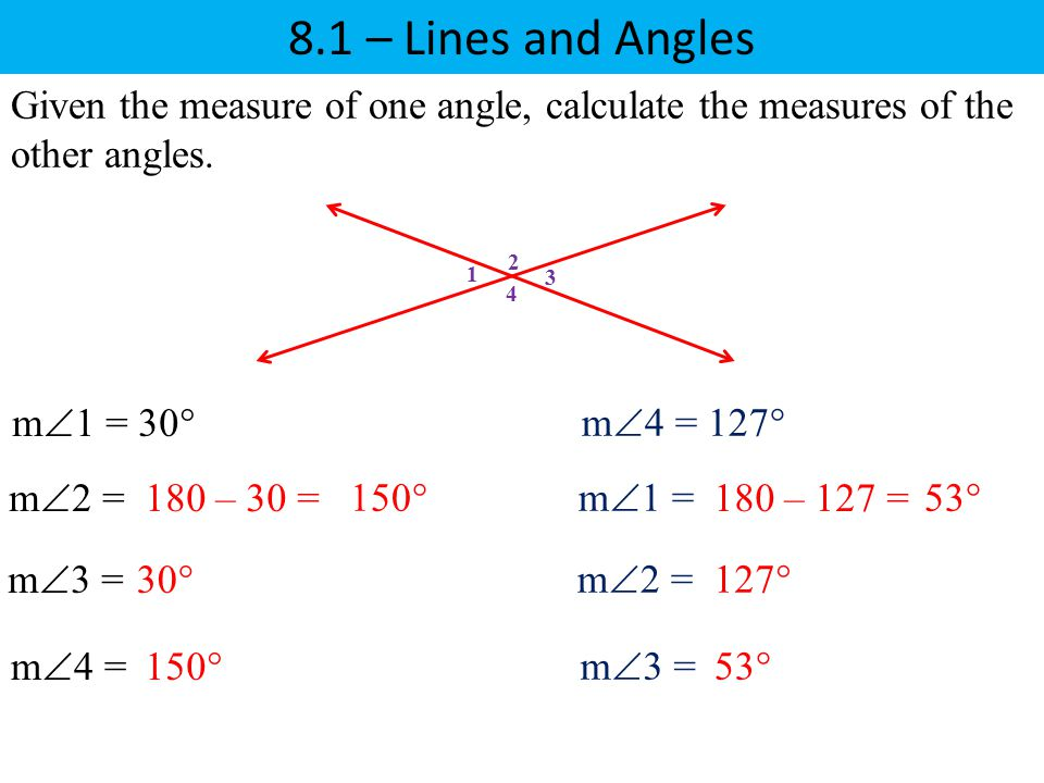 8.1 – Lines and Angles 1 2 3 4 Given the measure of one angle, calculate the measures of the other angles. m  1 = 30° m  2 = m  3 = m  4 = 30° 180